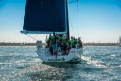MELBOURNE, AUSTRALIA - 26 DECEMBER: Mike And Mark Welsh skippering 'Wicked' during the 2018 Cock of the Bay yacht race , Australia on December 26 2018.