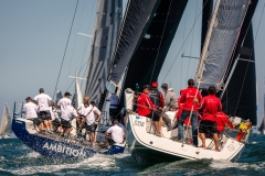 MELBOURNE, AUSTRALIA - 26 DECEMBER: Ambition under pressure from Antagonist during the 2018 Cock of the Bay yacht race , Australia on December 26 2018.