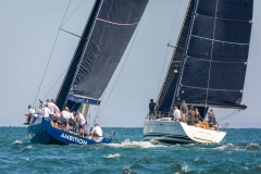 MELBOURNE, AUSTRALIA - 26 DECEMBER: 77 crew's and their yachts tussle for a good start during the 2018 Cock of the Bay yacht race , Australia on December 26 2018.
