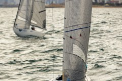 MELBOURNE, AUSTRALIA – May 5 : Paraplegic Sailers fight it out in their 2.4 Metre Class boats under light conditions at Royal Brighton Yacht Club on Port Phillip Bay, Australia on May 05 2019.