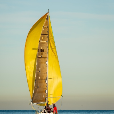 MELBOURNE, AUSTRALIA - JUNE 8: Competitors in the 2019 ORCV Winter Series Yacht Race making slow headway in light winds and calm sea at Port Phillip Bay in Melbourne, 2019