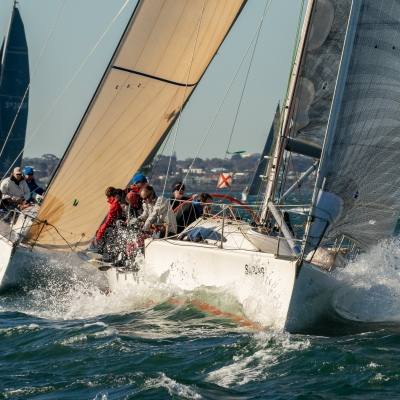 MELBOURNE, AUSTRALIA - AUGUST 31, 2019: Some of the action from 2019 ORCV Winter Series - Race 4 to Geelong. Credit Dave Hewison