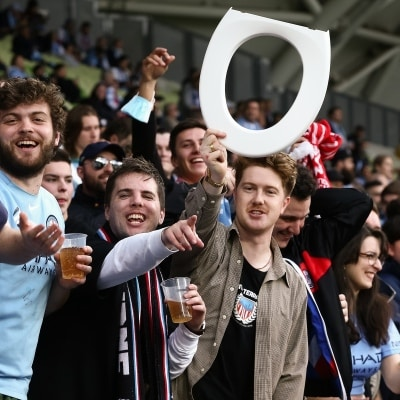 MELBOURNE, AUSTRALIA - JUNE 27: Melbourne City fans during the A-League Grand-Final soccer match between Melbourne City FC and Sydney FC on June 27, 2021 at AAMI Park in Melbourne, Australia. (Photo by Dave Hewison/Speed Media)