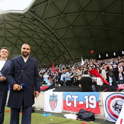 MELBOURNE, AUSTRALIA - JUNE 27: A-League legend Archie Thompson poses during the A-League Grand-Final soccer match between Melbourne City FC and Sydney FC on June 27, 2021 at AAMI Park in Melbourne, Australia. (Photo by Dave Hewison/Speed Media)