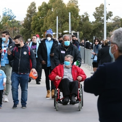 MELBOURNE, AUSTRALIA - JUNE 27: Melbourne City fans arrive at AAMI Park during the A-League Grand-Final soccer match between Melbourne City FC and Sydney FC on June 27, 2021 at AAMI Park in Melbourne, Australia. (Photo by Dave Hewison/Speed Media)
