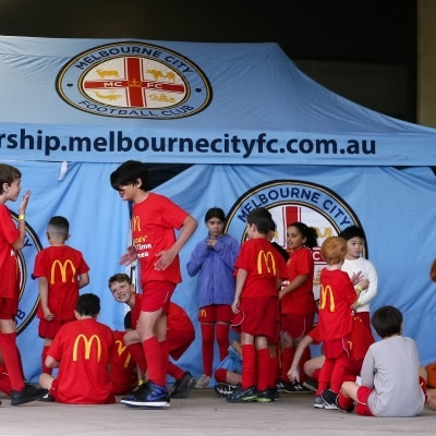 MELBOURNE, AUSTRALIA - JUNE 27: Soccer kids get ready before the A-League Grand-Final soccer match between Melbourne City FC and Sydney FC on June 27, 2021 at AAMI Park in Melbourne, Australia. (Photo by Dave Hewison/Speed Media)