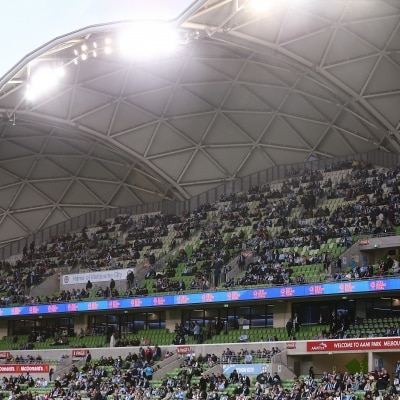 MELBOURNE, AUSTRALIA - JUNE 27: Fans return 50% capacity at AAMI Park for the A-League Grand-Final soccer match between Melbourne City FC and Sydney FC on June 27, 2021 at AAMI Park in Melbourne, Australia. (Photo by Dave Hewison/Speed Media)