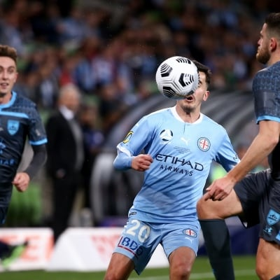 MELBOURNE, AUSTRALIA - JUNE 27: Adrian Luna of Melbourne City watches the ball during the A-League Grand-Final soccer match between Melbourne City FC and Sydney FC on June 27, 2021 at AAMI Park in Melbourne, Australia. (Photo by Dave Hewison/Speed Media)