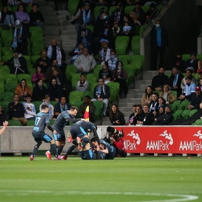 MELBOURNE, AUSTRALIA - JUNE 27: Sydney players celebrate kicking the first goal of the match during the A-League Grand-Final soccer match between Melbourne City FC and Sydney FC on June 27, 2021 at AAMI Park in Melbourne, Australia. (Photo by Dave Hewison/Speed Media)