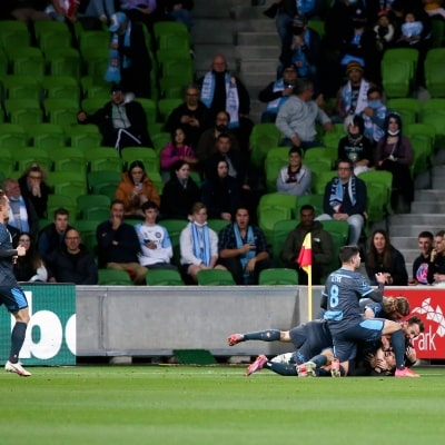 MELBOURNE, AUSTRALIA - JUNE 27: Sydney FC celebrate a goal during the A-League Grand-Final soccer match between Melbourne City FC and Sydney FC on June 27, 2021 at AAMI Park in Melbourne, Australia. (Photo by Dave Hewison/Speed Media)