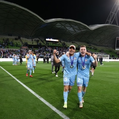 MELBOURNE, AUSTRALIA - JUNE 27: Andrew Nabbout of Melbourne City and Scott Galloway of Melbourne City during the A-League Grand-Final soccer match between Melbourne City FC and Sydney FC on June 27, 2021 at AAMI Park in Melbourne, Australia. (Photo by Dave Hewison/Speed Media)