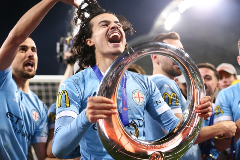 MELBOURNE, AUSTRALIA - JUNE 27: Stefan Colakovski of Melbourne City holds their trophy during the A-League Grand-Final soccer match between Melbourne City FC and Sydney FC on June 27, 2021 at AAMI Park in Melbourne, Australia. (Photo by Dave Hewison/Speed Media/Icon Sportswire)