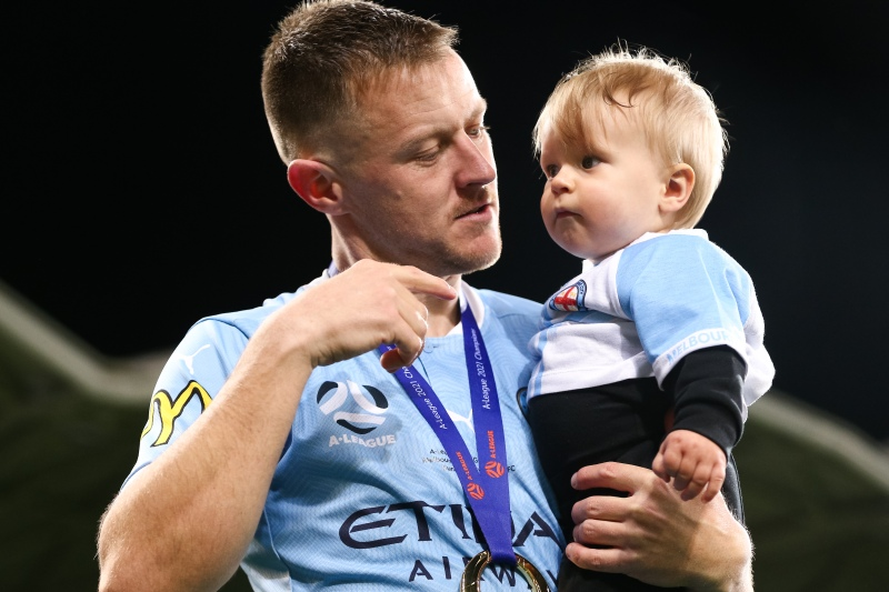 MELBOURNE, AUSTRALIA - JUNE 27: Scott Jamieson of Melbourne City takes his kid onto the field during the A-League Grand-Final soccer match between Melbourne City FC and Sydney FC on June 27, 2021 at AAMI Park in Melbourne, Australia. (Photo by Dave Hewison/Speed Media/Icon Sportswire)MELBOURNE, AUSTRALIA - JUNE 27: during the A-League Grand-Final soccer match between Melbourne City FC and Sydney FC on June 27, 2021 at AAMI Park in Melbourne, Australia. (Photo by Dave Hewison/Speed Media/Icon Sportswire)