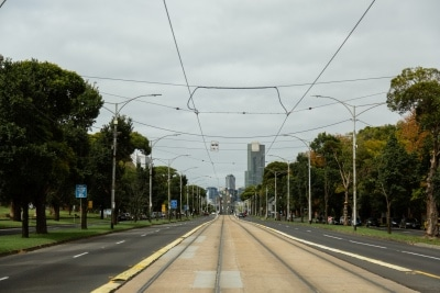 An empty Flemington Road looking towards the city, due to COVID 19 on 12 April, 2020 in Melbourne, Australia. (Photo by Speed Media/Icon Sportswire)