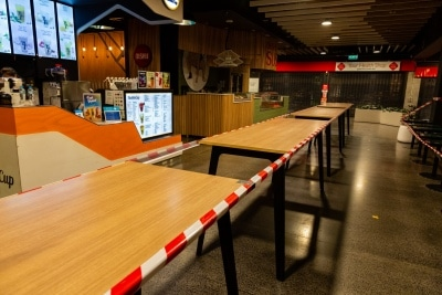 Melbourne, Australia, 12 April, 2020. Dining areas, restaurants and cafes are closed during the  COVID-19 Crisis in Melbourne, Phillip Island Circuit, Australia. Credit: Dave Hewison/Alamy Live News