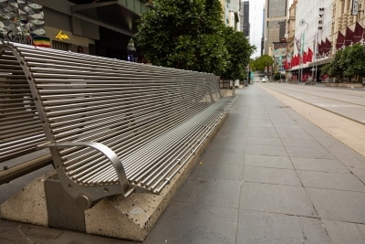 Melbourne, Australia, 12 April, 2020. Usually bustling with people, the Burke Street mall is totally empty during the  COVID-19 Crisis in Melbourne, Phillip Island Circuit, Australia. Credit: Dave Hewison/Alamy Live News