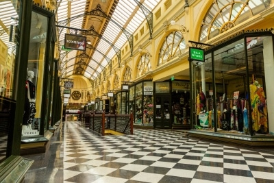 Melbourne, Australia, 12 April, 2020. One of Melbourne favorite and most historic shopping malls in the CBD, The Royal Arcade gathers dust during the  COVID-19 Crisis in Melbourne, Phillip Island Circuit, Australia. Credit: Dave Hewison/Alamy Live News