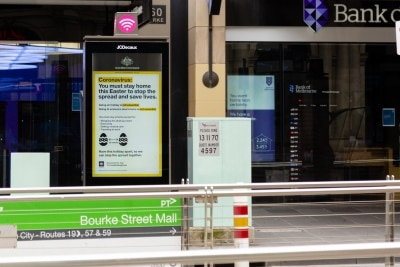 A Coronavirus warning sign at a tram stop during COVID 19 on 12 April, 2020 in Melbourne, Australia. (Photo by Speed Media/Icon Sportswire)