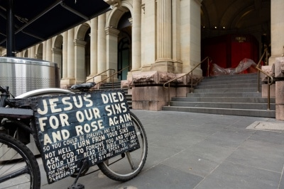 A bicycle with a religious message stands outside of the old GPO in the CBD during COVID 19 on 12 April, 2020 in Melbourne, Australia. (Photo by Speed Media/Icon Sportswire)
