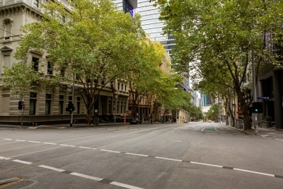 City streets across the CBD are largely empty due to COVID 19 on 12 April, 2020 in Melbourne, Australia. (Photo by Speed Media/Icon Sportswire)