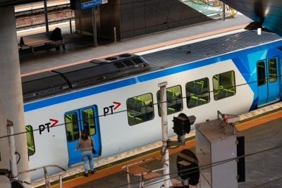 Melbourne, Australia, 12 April, 2020. Metro trains are barely being used during the  COVID-19 Crisis in Melbourne, Phillip Island Circuit, Australia. Credit: Dave Hewison/Alamy Live News