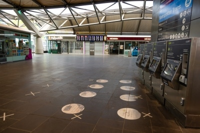 Melbourne, Australia, 12 April, 2020. Southern Cross Railway Station, Melbourne's busiest interchange, remains empty during the  COVID-19 Crisis in Melbourne, Phillip Island Circuit, Australia. Credit: Dave Hewison/Alamy Live News