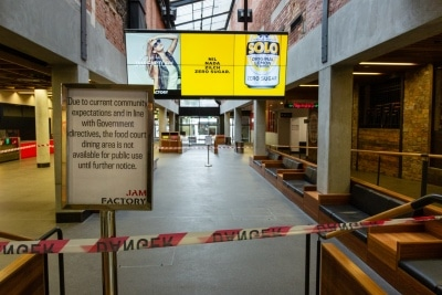 Public dining areas have been roped off in the Jam Factory due to COVID 19 on 12 April, 2020 in Melbourne, Australia. (Photo by Speed Media/Icon Sportswire)