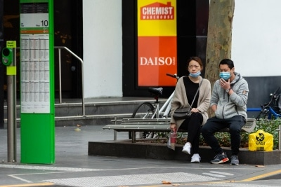 Despite authorities pleading with the public to stop wearing masks on the street because of shortages due to COVID 19, many still insist on wearing them - many more wear them incorrectly on 12 April, 2020 in Melbourne, Australia. (Photo by Speed Media/Icon Sportswire)
