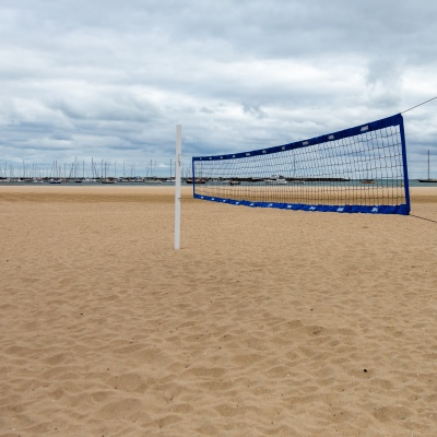Melbourne, Australia, 25 March, 2020. Volley Ball nets on St Kilda Beach as COVID-19 Pandemic hits Melbourne, Australia. Credit: Dave Hewison/Alamy Live News