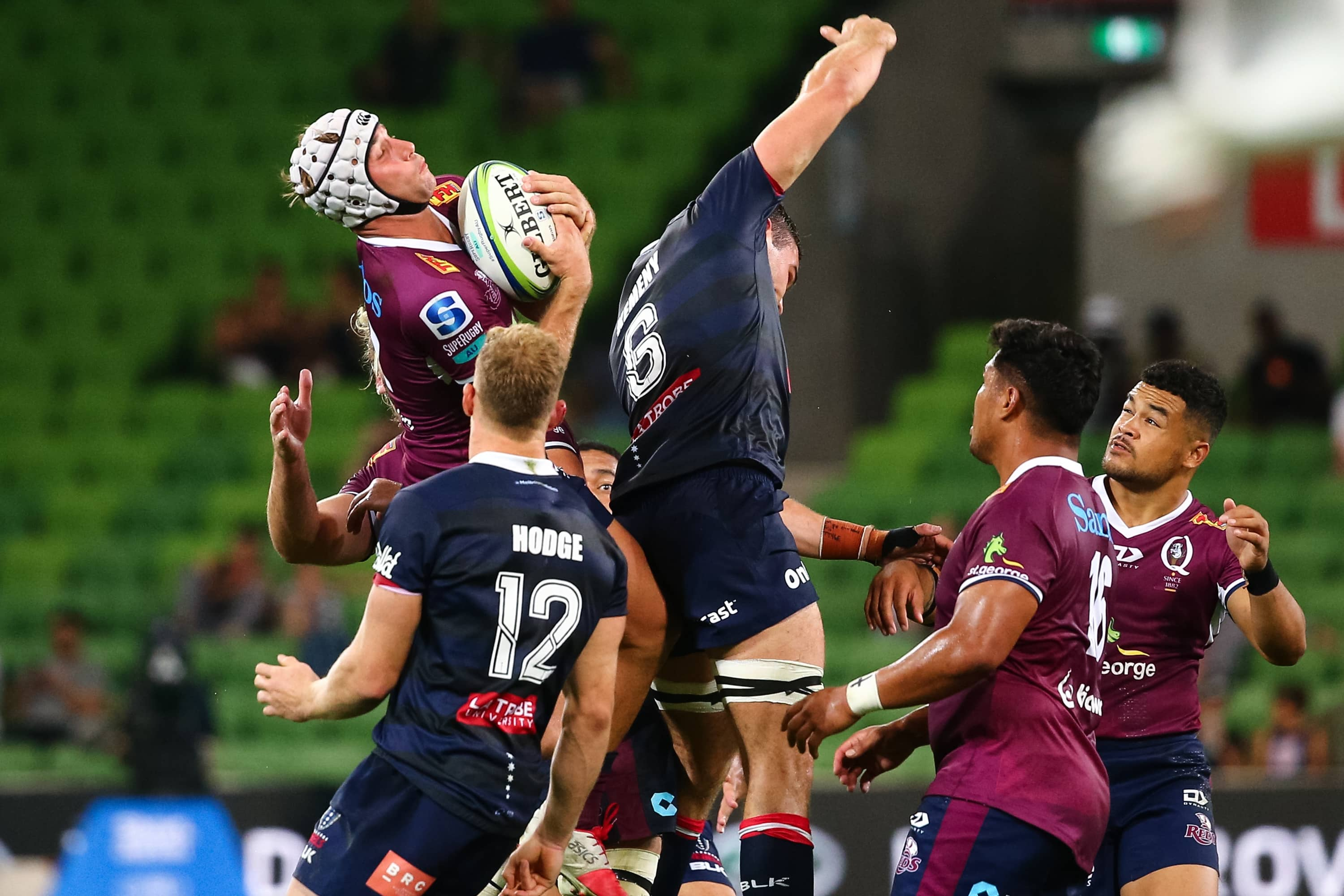 MELBOURNE, AUSTRALIA - APRIL 03: Hamish Stewart of the Queensland Reds catches the ball during the round seven Super Rugby AU match between the Melbourne Rebels and Queensland Reds at AAMI Park on April 03, 2021 in Melbourne, Australia. (Photo by Speed Media/Icon Sportswire)