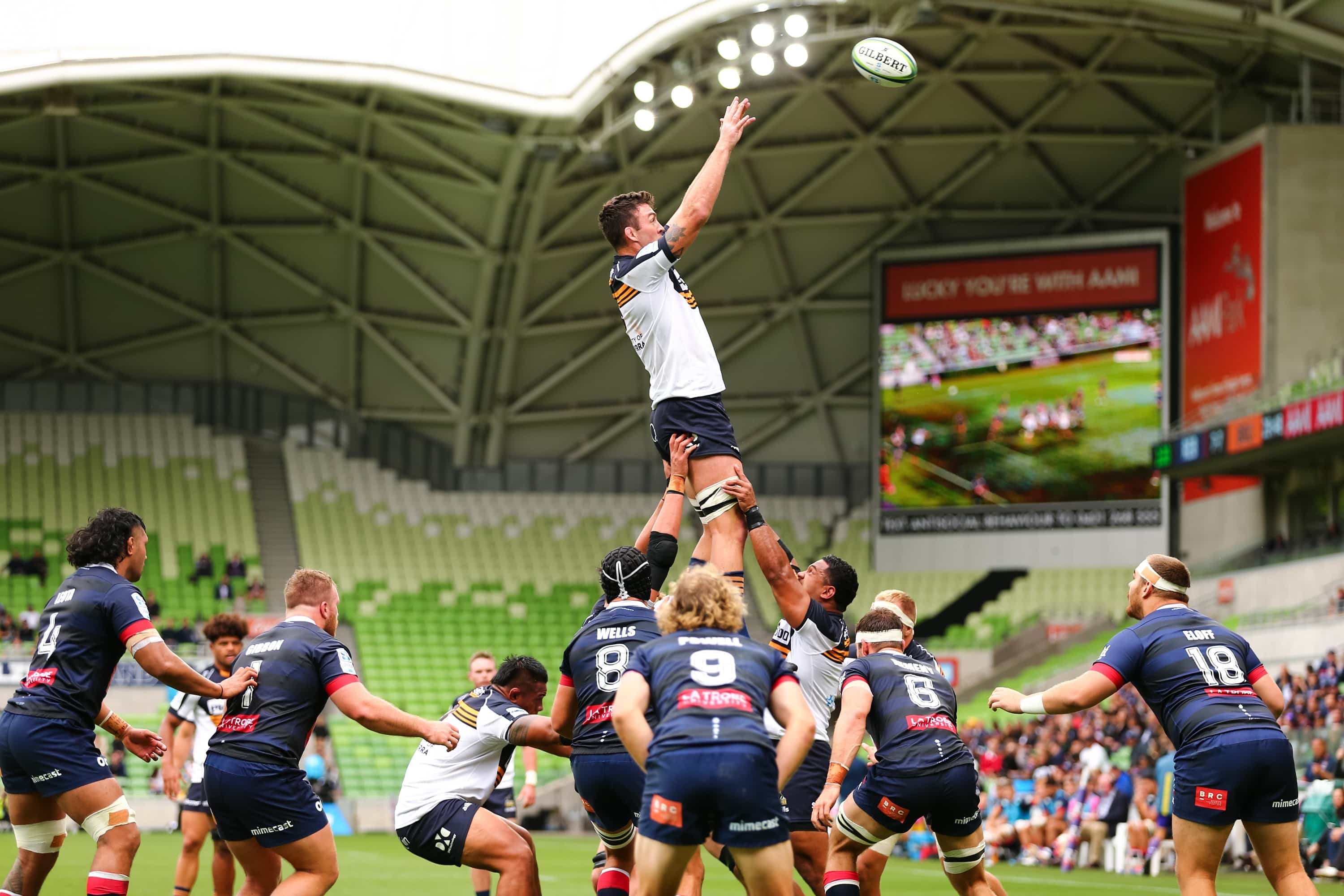MELBOURNE, AUSTRALIA - APRIL 18: Cadeyrn Neville of the Brumbies catches the ball during the round nine Super Rugby AU match between the Melbourne Rebels and ACT Brumbies at AAMI Park on April 18, 2021 in Melbourne, Australia. (Photo by Speed Media/Icon Sportswire)
