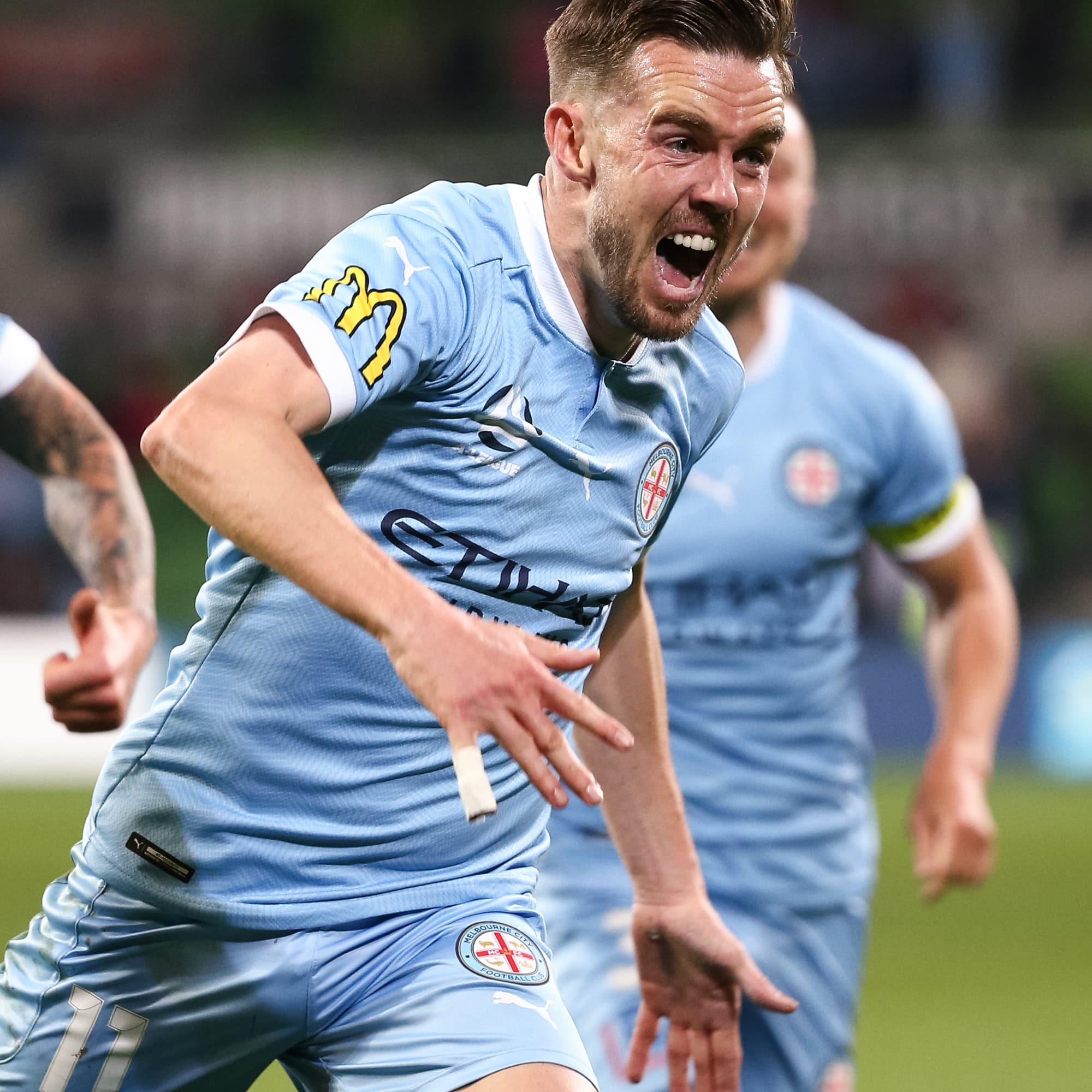MELBOURNE, AUSTRALIA - MAY 22: Craig Noone of Melbourne City celebrates after kicking what would turn out to be the match winning goal during the Hyundai A-League soccer match between Melbourne City FC and Central Coast Mariners on May 22, 2021 at AAMI Park in Melbourne, Australia. (Photo by Speed Media/Icon Sportswire)