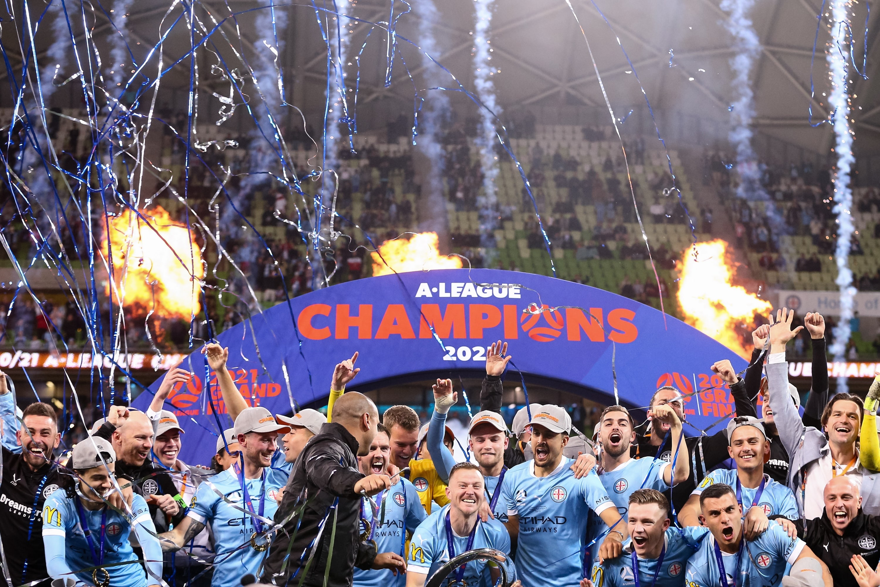 MELBOURNE, AUSTRALIA - JUNE 27: Melbourne celebrate on the podium during the A-League Grand-Final soccer match between Melbourne City FC and Sydney FC on June 27, 2021 at AAMI Park in Melbourne, Australia. (Photo by Dave Hewison/Speed Media/Icon Sportswire)