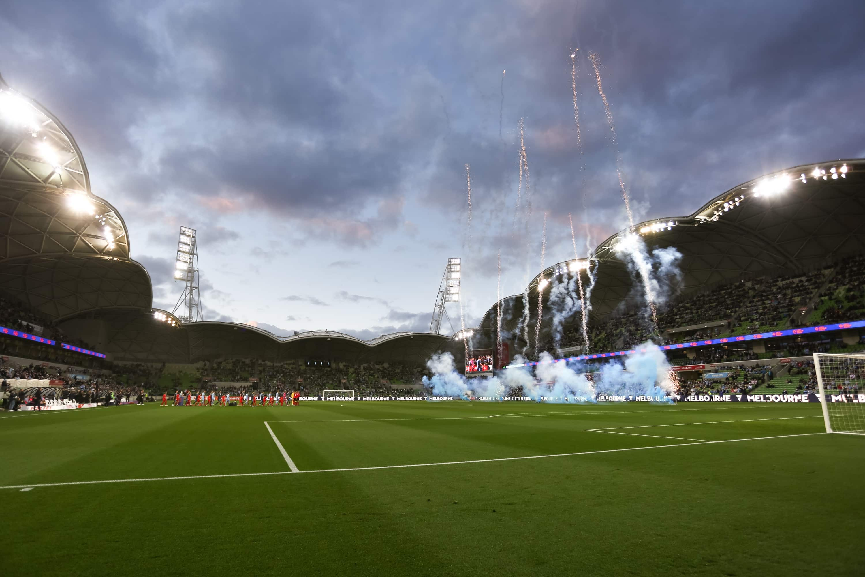 MELBOURNE, AUSTRALIA - JUNE 27: Players walk onto the field as flanked by fireworks during the A-League Grand-Final soccer match between Melbourne City FC and Sydney FC on June 27, 2021 at AAMI Park in Melbourne, Australia. (Photo by Dave Hewison/Speed Media/Icon Sportswire)