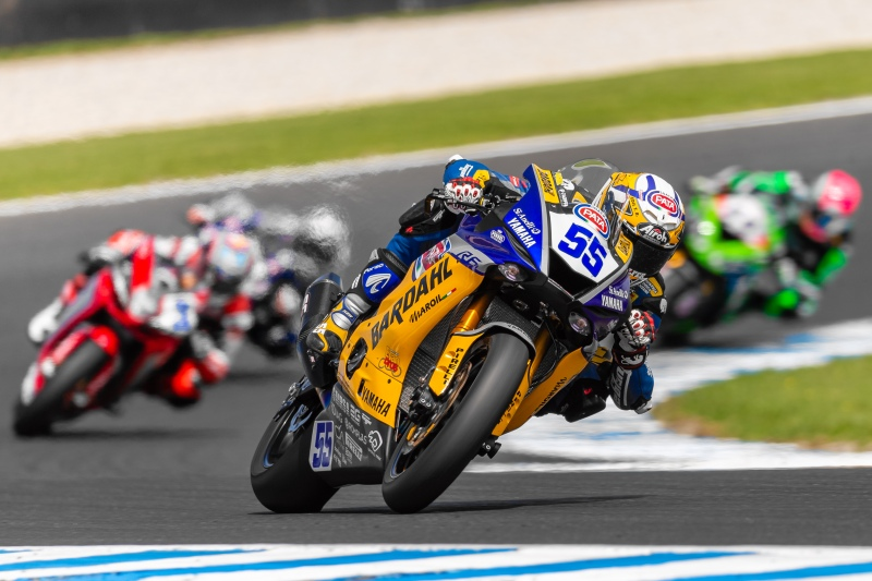 PHILLIP ISLAND, AUSTRALIA - MARCH 01:BARDAHL Evan Bros. WorldSSP Team rider Andrea Locatelli (55) leads SSP Race 1 during round 1 of the 2020 World Superbike Championship on March 01, 2020 at Phillip Island Circuit in Victoria, Australia.  (Photo by Speed Media/Icon Sportswire)