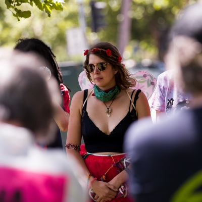 Protest leader, Violet CoCo is seen speaking to a group of protesters during an Extinction Rebellion protest in Melbourne.  A small group of climate protesters marched from Flagstaff Gardens to The Queen Victoria Market and ending with two individuals gluing themselves together, and then glued themselves to Victoria Avenue outside of the Market. This comes as 5 new COVID-19 cases were uncovered in Melbourne's revamped Hotel Quarantine, breaking almost 40 days of virus free days.