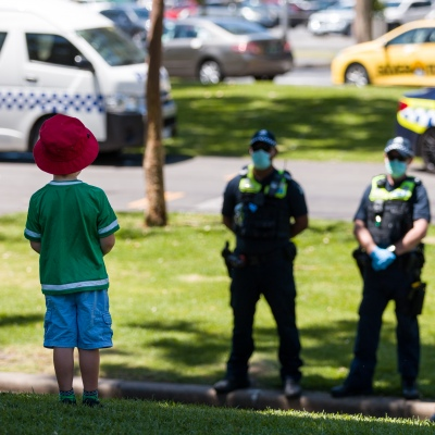 A little boy is seen chatting with police during an Extinction Rebellion protest in Melbourne.  A small group of climate protesters marched from Flagstaff Gardens to The Queen Victoria Market and ending with two individuals gluing themselves together, and then glued themselves to Victoria Avenue outside of the Market. This comes as 5 new COVID-19 cases were uncovered in Melbourne's revamped Hotel Quarantine, breaking almost 40 days of virus free days.