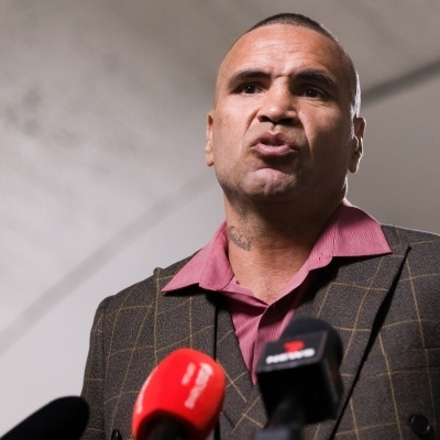 MELBOURNE, AUSTRALIA - DECEMBER 18: Anthony Mundine speaks to the press during the press conference to announce the upcoming fight between Anthony Mundine and Michael Zerafa at Doherty's City Gym on December 18, 2020 in Melbourne, Australia. (Photo by Dave Hewison/Speed Media/Icon Sportswire)