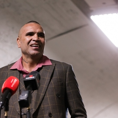 MELBOURNE, AUSTRALIA - DECEMBER 18: Anthony Mundine is seen laughing as he speaks to the press during the press conference to announce the upcoming fight between Anthony Mundine and Michael Zerafa at Doherty's City Gym on December 18, 2020 in Melbourne, Australia. (Photo by Dave Hewison/Speed Media/Icon Sportswire)
