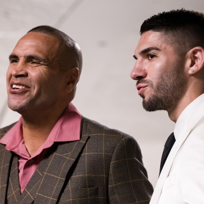 MELBOURNE, AUSTRALIA - DECEMBER 18: Anthony Mundine (L) and Michael Zerafa speak to the press during the press conference to announce the upcoming fight between Anthony Mundine and Michael Zerafa at Doherty's City Gym on December 18, 2020 in Melbourne, Australia. (Photo by Dave Hewison/Speed Media/Icon Sportswire)