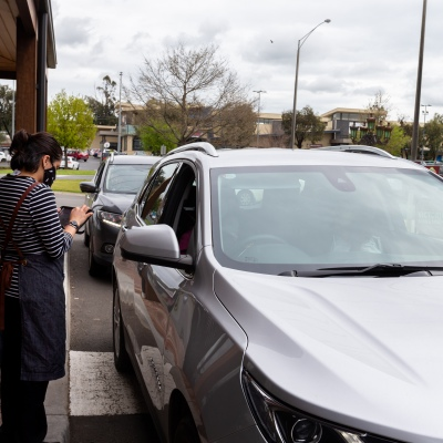 Wallan locals order food and coffee at the innovative drive through at Pretty Sally Bakehouse during COVID-19 in Melbourne, Australia.  Regional Victoria welcomes its first day of relative freedom as Step  Three begins. There are no longer any restrictions on leaving home, restrictions on cafes and another retail has been eased allowing patrons to sit down and enjoy a socially distant meal. Victoria saw just 28 new cases of Coronavirus overnight.
