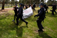 MELBOURNE, VIC - SEPTEMBER 19: Police swoop on protesters holding up a banner during the Freedom protest on September 19, 2020 in Melbourne, Australia. Freedom protests are being held in Melbourne every Saturday and Sunday in response to the governments COVID-19 restrictions and continuing removal of liberties despite new cases being on the decline. Victoria recorded a further 21 new cases overnight along with 7 deaths. (Photo by Speed Media/Icon Sportswire)