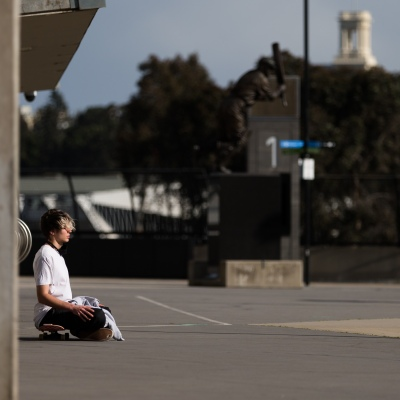 A man is seen meditating by the MCG as an announcement was made today by the AFL CEO, Gillon McLachlan that the 2020 Grand Final will be held in Brisbane due to Daniel Andrews draconian rules in Victoria during COVID-19 in Melbourne, Australia.  Premier Daniel Andrews Labor Government was given a six month extension to their State of Emergency Powers. Under these powers, the government need not justify their response to the pandemic or have to face any scrutiny. It risks the continuation of major events in Victoria and will plunge the state into the deepest recession not seen in 100 years. The government continues to push the meaningless daily case numbers as daily deaths continue to plunge as Aged Care is brought under control.