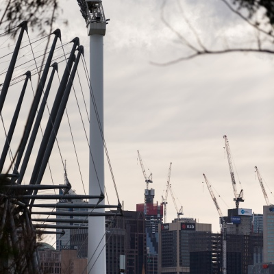 A view of the city as seen from the MCG showing the extent of construction in progress in the CBD which is now hanging in the balance as Daniel Andrews holds the state of Victoria to ransom during COVID-19 in Melbourne, Australia.  Premier Daniel Andrews Labor Government was given a six month extension to their State of Emergency Powers. Under these powers, the government need not justify their response to the pandemic or have to face any scrutiny. It risks the continuation of major events in Victoria and will plunge the state into the deepest recession not seen in 100 years. The government continues to push the meaningless daily case numbers as daily deaths continue to plunge as Aged Care is brought under control.