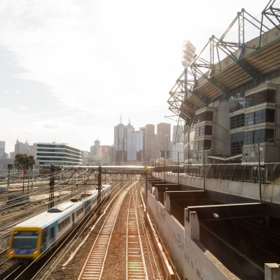 A train is seen passing the MCG as an announcement was made today by the AFL CEO, Gillon McLachlan that the 2020 Grand Final will be held in Brisbane due to Daniel Andrews draconian rules in Victoria during COVID-19 in Melbourne, Australia.  Premier Daniel Andrews Labor Government was given a six month extension to their State of Emergency Powers. Under these powers, the government need not justify their response to the pandemic or have to face any scrutiny. It risks the continuation of major events in Victoria and will plunge the state into the deepest recession not seen in 100 years. The government continues to push the meaningless daily case numbers as daily deaths continue to plunge as Aged Care is brought under control.