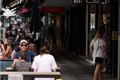 Crowds flock back to Acland Street during the final days of the worlds toughest and longest COVID-19 restrictions in St Kilda.  With 21 days of zero new cases, Premier Daniel Andrews is expected to announce major easing of restrictions, including masks, at his press conference on Sunday.