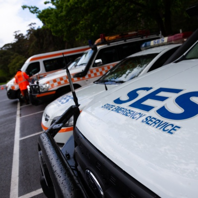 MELBOURNE, VIC - SEPTEMBER 23: SES search and rescue vehicles line the the staging area as Police and SES continue to search for missing 14 year old autistic boy, William Wall after he went missing two days ago in dense bushland on September 23, 2020 in Melbourne, Australia. A massive search in the Yarra Ranges is underway for missing autistic teen who spent the night lost in the bush. Multiple Crews, including police, the Airwing and SES searched for William as temperatures dropped to 7C overnight. Rain is predicted Wednesday and will impact the search efforts. (Photo by Speed Media/Icon Sportswire)