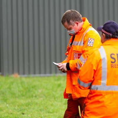MELBOURNE, VIC - SEPTEMBER 23: SES volunteers are seen in the staging area as Police and SES continue to search for missing 14 year old autistic boy, William Wall after he went missing two days ago in dense bushland on September 23, 2020 in Melbourne, Australia. A massive search in the Yarra Ranges is underway for missing autistic teen who spent the night lost in the bush. Multiple Crews, including police, the Airwing and SES searched for William as temperatures dropped to 7C overnight. Rain is predicted Wednesday and will impact the search efforts. (Photo by Speed Media/Icon Sportswire)