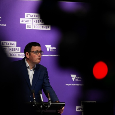 MELBOURNE, AUSTRALIA - SEPTEMBER 26: Premier Daniel Andrews addresses the media during a press conference at Treasury Theatre on September 26, 2020 in Melbourne, Australia. Victoria's health minister Jenny Mikakos has resigned on Saturday after the hotel quarantine inquiry. Premier Daniel Andrews gave evidence on the final day of the inquiry on Friday saying he regarded Jenny Mikakos accountable for the program that ultimately led to Victoria's COVID-19 second wave. (Photo by Speed Media/Icon Sportswire)