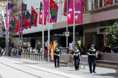 Police are seen patrolling Bourke Street Mall during Black Friday sales in the CBD.  As temperatures soured in Melbourne, locals flock to the city for Christmas bargains. Victoria saw its 29th day of no cases today but despite this the government show no signs of further lifting of restrictions.